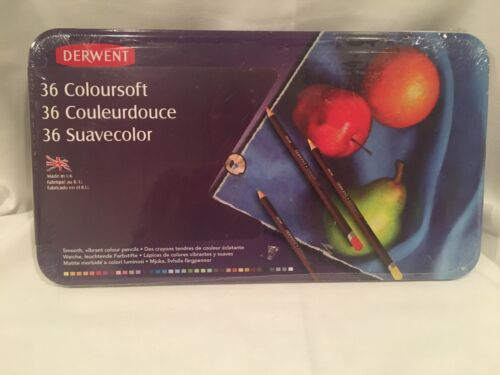 Derwent 36 Coloursoft Colored Pencils Tin Set New Sealed