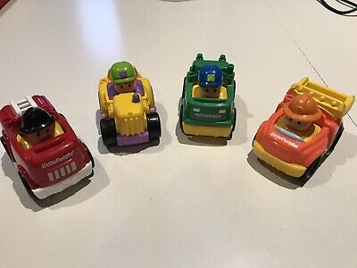 2009 Fisher PrIce Little People Car Lot Firetruck Recycle Tractor Dump Truck