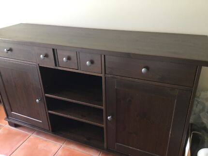Ikea Dining room buffet in dark brown colour.