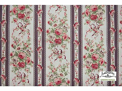 RPA773 Country French Garden Floral Bouquet Stripe Japan Cotton Quilting Fabric