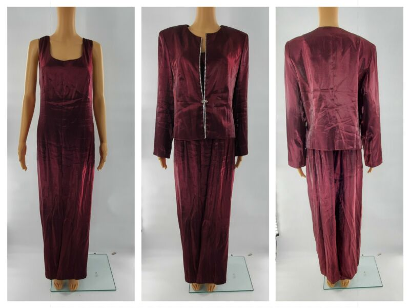 Deep Purple Burgundy Long Formal Gown Mother of the Bride Dress w/ Jacket sz 14