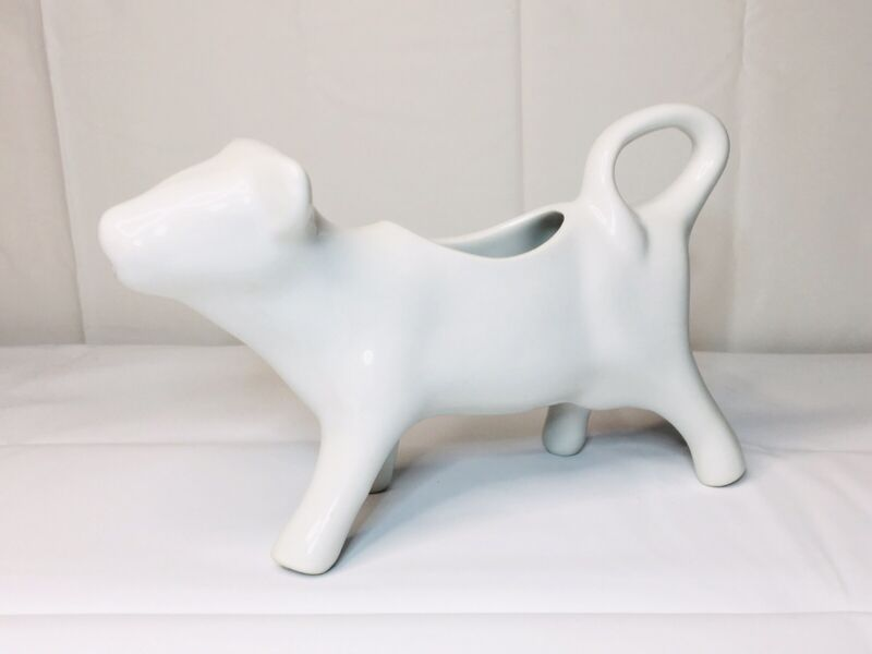 Vintage Creamer Gravy Boat Porcelain White Cow Bull Milk Country Farmhouse Decor