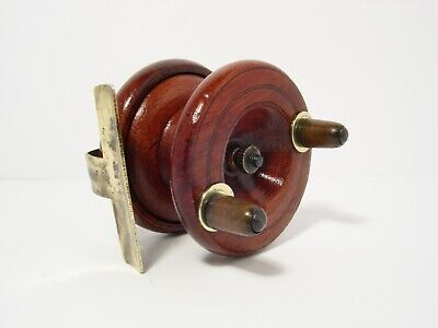 """Vintage Antique Smith & Wall 2½"""" Wooden Brass Strapback Centrepin Fishing Reel"""