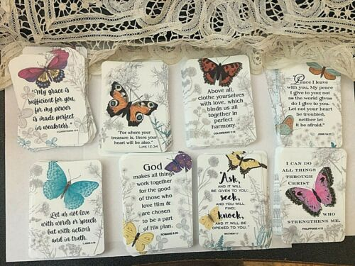 """Lot 12 New """"Spring Inspired Bible Verses"""" Cards Bookmarks Wallet Size Christian"""