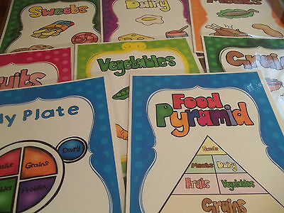 8 laminated Food Pyramid Classroom Anchor Chart Posters.  Health.  8x11 in
