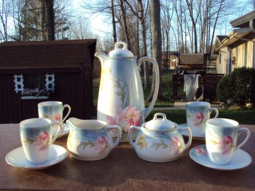 Antique P. V. Vessra, Germany Hand Painted Coffee/Chocolate Set