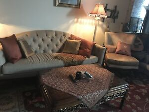 Furniture Sale (COUCH, ARM CHAIR, LAMP, COFFEE TABLE, MORE)