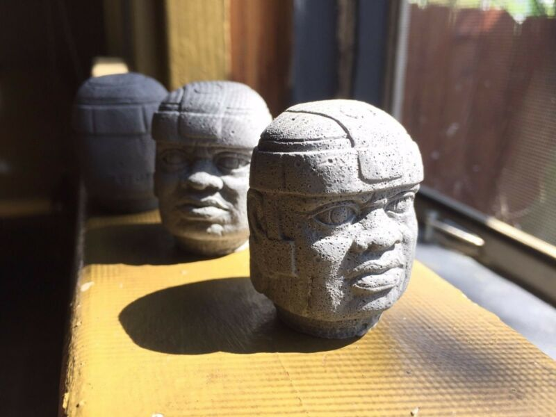 Three Pre-Columbian Handmade Mini Olmec Head Sculptures