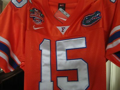 New  Florida Gators  15 College Throwback Tim Tebow Bcs Champ Patch Sewn Jersey