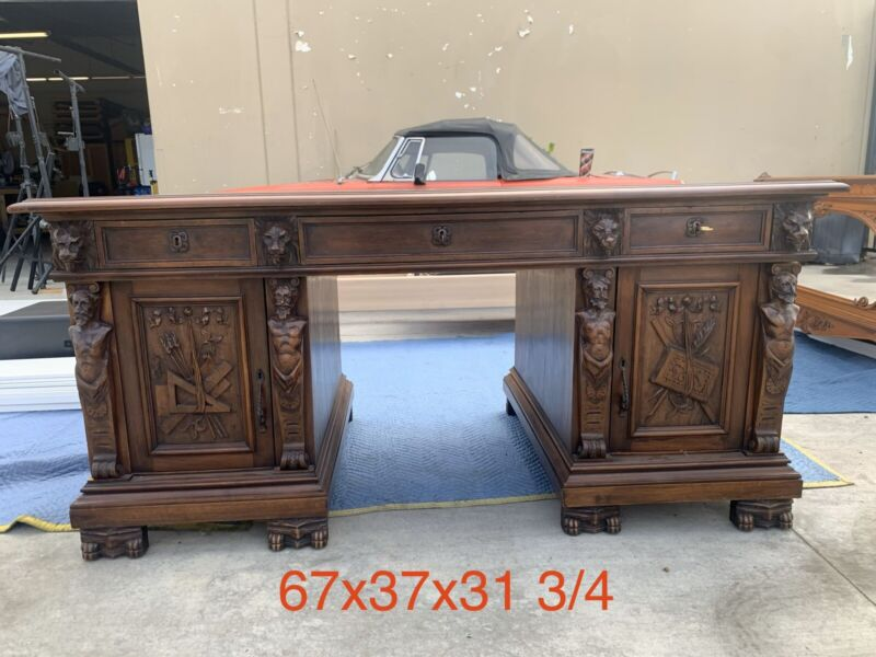 Antique Hand Carved Desk