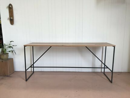 Recycled Beech timber and steel high bench/desk Lonsdale Morphett Vale Area Preview