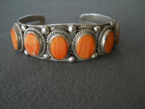 LEO FENNEY Southwestern Orange Spiny Oyster Row Sterling Silver Cuff Bracelet