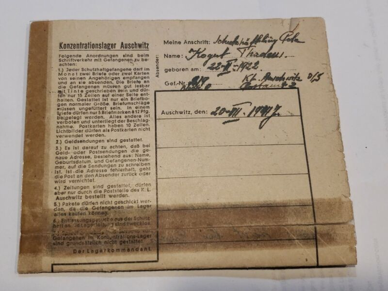 WWII Auschwitz Concentration Camp Letter