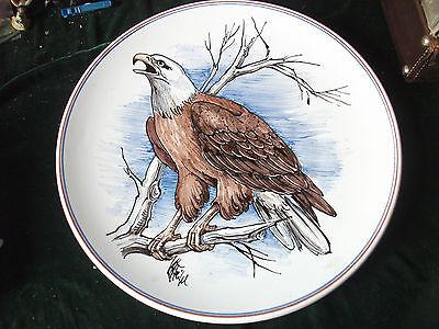 Karlsruher Majolika;Teller;Seeadler;signiert;42 cm;Handgemalt; Heid