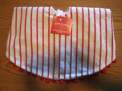 "NEW WONDERSHOP 18"" MINI CHRISTMAS TREE SKIRT CREAM WITH RED STRIPES + BALL TRIM"