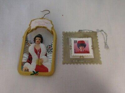 1999 Silken Flame Barbie Stamp Hallmark Keepsake Ornament + 1998 Holiday Voyage