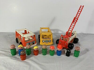 Vintage Fisher Price Little People Fire Engine Truck Bus Van 720 141 + 10 People
