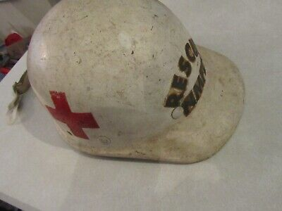 Rescue Nmfd Superlite Fibre Metal Vintage Hard Hat Made In Usa