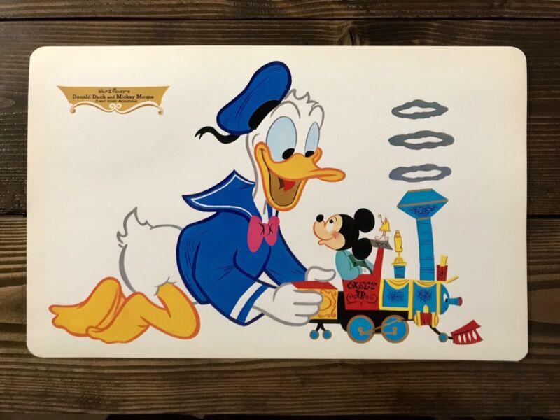 Walt Disney Placemat 1960's Vintage Donald Duck & Mickey Mouse
