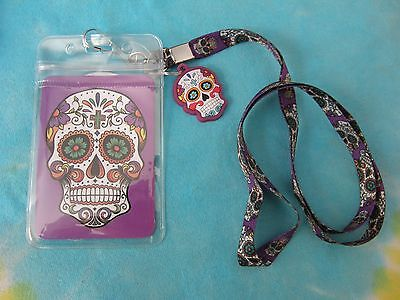 Day of The Dead Sugar Skull Lanyard With Charm and ID Holder