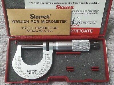 Starrett No. T230rl 0 - 1 Outside Micrometer Satin Chrome Finish - Mint