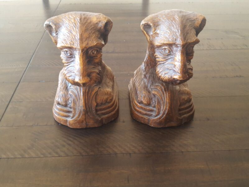 Vintage Bookends Dog  Terrier,Airedale,Fox,Welsh Syroco Wood