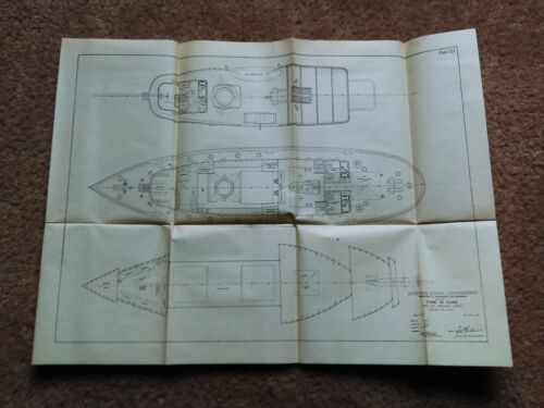 1914 Panama Canal Type A Tug Boats Deck Plans Diagram