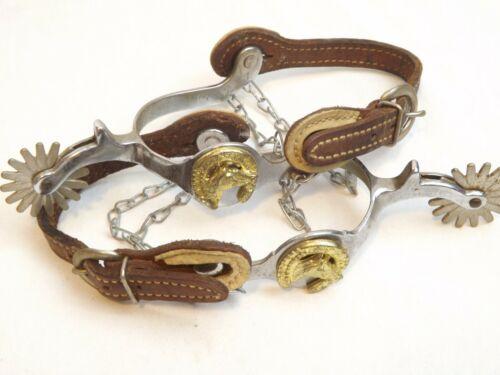 Horse Head Metal Spurs Pair Brown Leatherette Boot Strap Vintage Gold Horseshoe