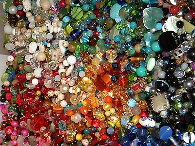 NEW 8/oz Multi-colored MIXED LOOSE BEADS LOT Gemstone, Glass NO JUNK (mx8)