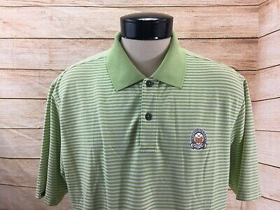 Ashworth Golf Polo Shirt SS Mens L Longaberger Golf Club Striped