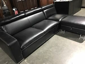 CLEAR OUT!!! Black Leather Sectional