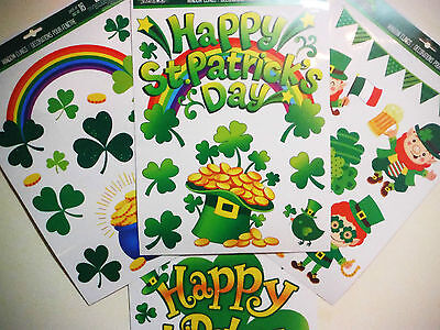 ST PATRICKS DAY WINDOW CLINGS VARIETY.GREAT HOME DECOR IRISH PUBS ETC..
