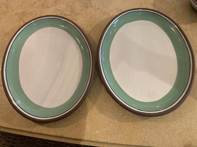"Set Of 2 Dansk STACKING STRIPE PISTACHIO 14"" Oval Serving Platter EUC"