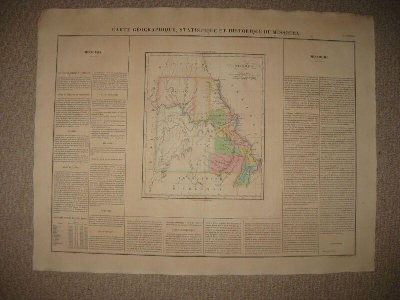 HUGE IMPORTANT ANTIQUE 1825 MISSOURI & TERRITORY CAREY & LEA BUCHON HANDCOLR MAP