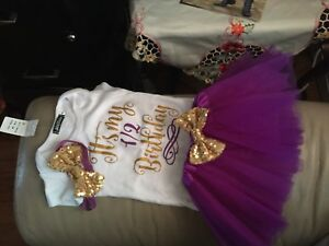 Baby girl 1/2 Birthday purple gold and tutu outfit
