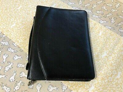 Leather Zip 3-ring Binder Planner Portfolio - Black