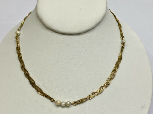 """Vintage Necklace Choker 1/20 12k Gold Filled Braided Herringbone Faux Pearl 16"""""""
