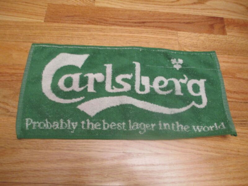 Vintage 70s CARLSBERG Lager Beer Woven Cloth BAR ROOM 17 x 8 TOWEL