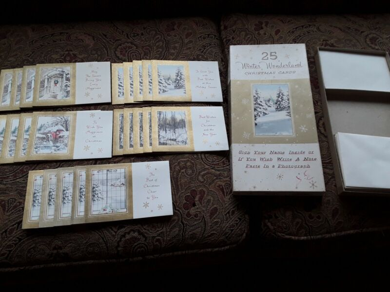 Vintage Sears Christmas Cards and Box Brand New 24 Cards
