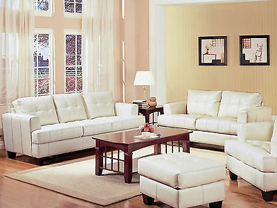 Modern Living Room Furniture White Bonded Leather Sofa Couch Loveseat Set IG7L