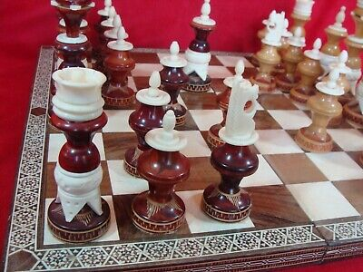 Antique Wooden CHESS SET Hand carving & painting Bone decoration ( board incl.) Hand Decorated Chess Set