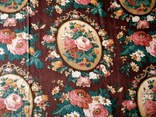 Antique English or French Cameo Roses Floral Cotton Fabric ~ Raisin Pink Green