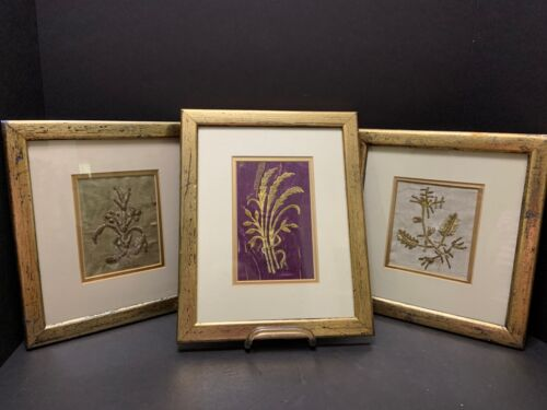 3 Gold Thread Embroidery Pieces Antique Framed Turkish Hand Work Cloth Fragments