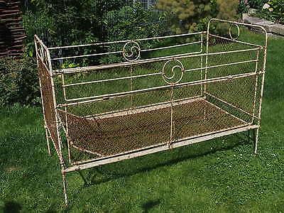 Altes Bett Kinderbett Metallbett Landhaus Bauernhof Shabby Vintage L140B72H95cm