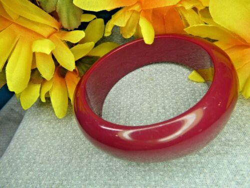 Rare Vintage Chunky MAUVE Asymmetrical Solid Lucite Plastic BANGLE BRACELET Red