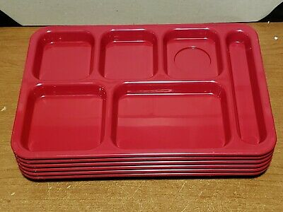 Cafeteria School  Lunch Trays 6 Comp Dark Green Made USA