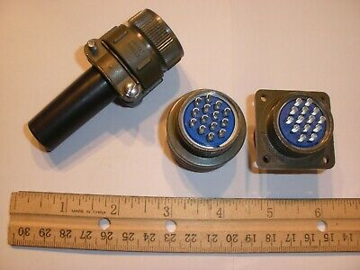 New - Ms3106a 20-27p Sr With Bushing And Ms3102a 20-27s - 14 Pin Mating Pair