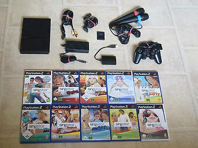 Playstation 2 Slim komplett mit Controller + 1 Singstar Spiel + Micros + MC PS2 (Ps2 Komplett Konsole)