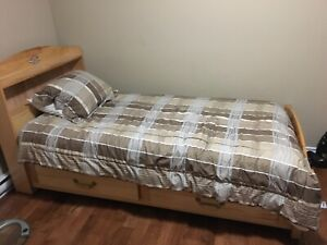 Solid wood single bed set