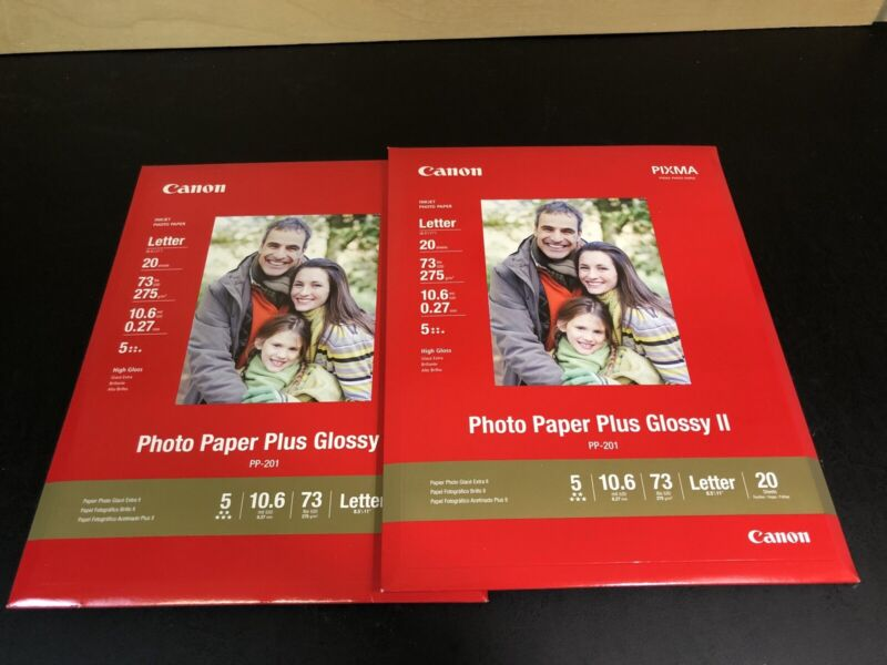 """2 New CANON Photo Paper Plus Glossy II 8.5"""" x 11""""(PP-201) 40 sheets"""